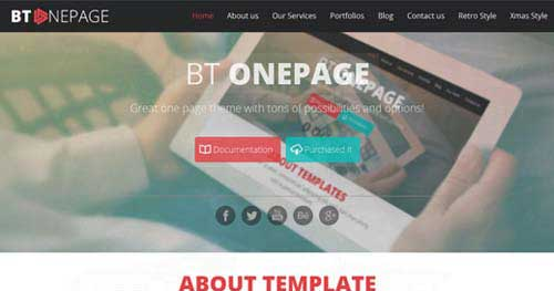 BT One Page - One Page Joomla Themes
