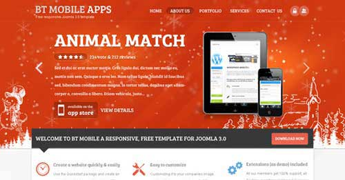 BT Mobile Apps - Free Joomla Themes