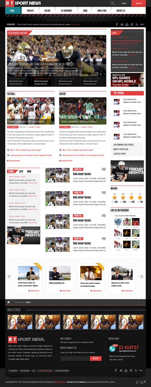 Bt news a premium blog magazine joomla theme free for News site template free download