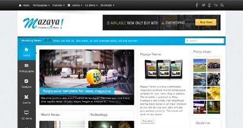 Mazaya - Joomla News Magazine Themes