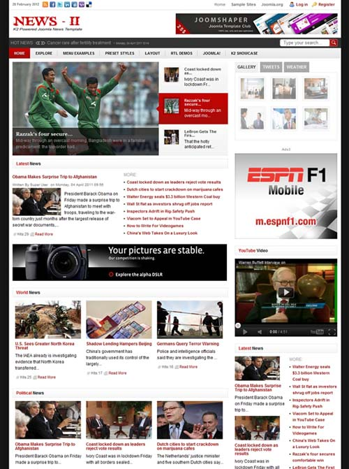 readymade k2 powered joomla news template shaper news ii is for them