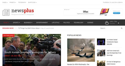 Shaper Newsplus Joomla Theme