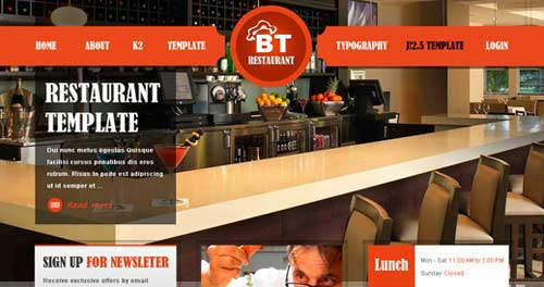 BT Restaurant - Restaurant Joomla Templates