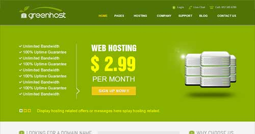 GreenHost - Web Hosting Joomla Templates