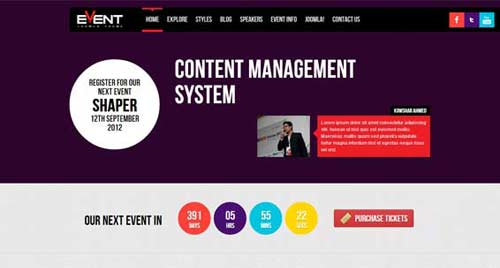 Shaper Event - Event Joomla Templates