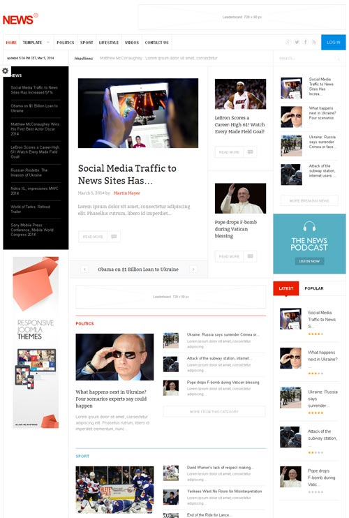 News 2 - A Premium Blog / Magazine Joomla Theme | Free Download
