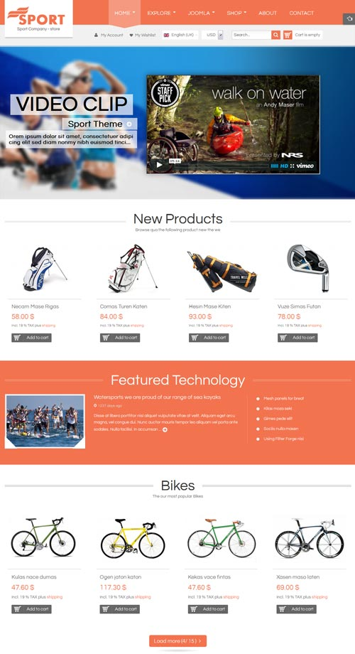 Sj Sport Store Ecommerce Joomla Theme Free Download