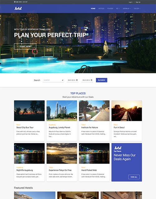 Ja hotel business joomla theme free download for Joomla hotel template