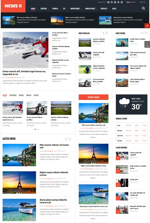 Sj news ii magazine joomla theme free download for Free joomla template creator software