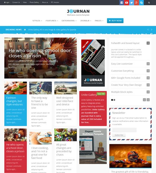 Journan blog magazine joomla theme free download for Social networking sites free templates download
