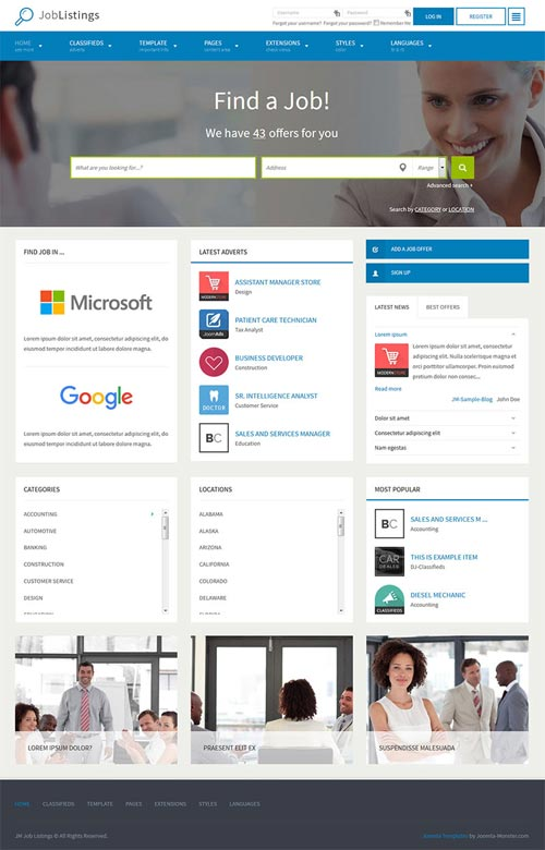 Job Joomla Templates JM Job Listings - Business Joomla Theme   Free Download