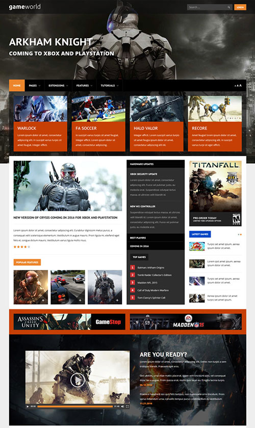 Game World Joomla Template